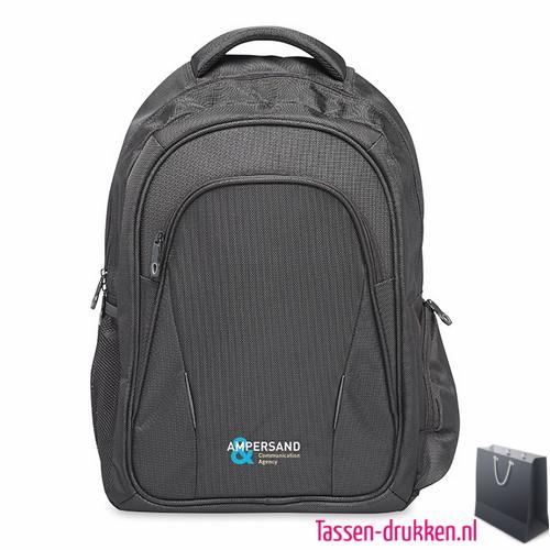 Laptop rugzak 15 inch extreem zware kwaliteit bedrukken met print, laptoptas bedrukken, laptoptas bedrukt, bedrukte laptoptas met logo