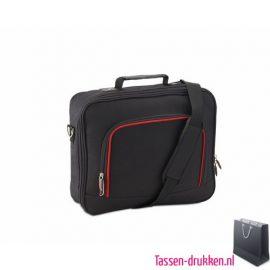 Laptoptas 13 inch zwart bedrukken rood, laptoptas bedrukken, laptoptas bedrukt, bedrukte laptoptas met logo
