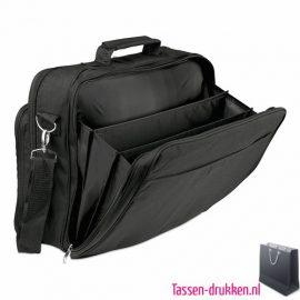 Laptoptas 14 inch multifunctioneel bedrukken zwart veel vakken, laptoptas bedrukken, laptoptas bedrukt, bedrukte laptoptas met logo