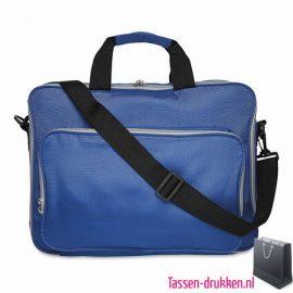 Laptoptas 15 inch gekleurd bedrukken blauw, laptoptas bedrukken, laptoptas bedrukt, bedrukte laptoptas met logo