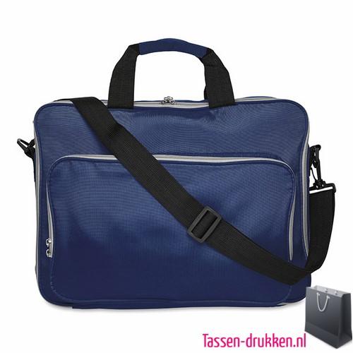 Laptoptas 15 inch gekleurd bedrukken d blauw, laptoptas bedrukken, laptoptas bedrukt, bedrukte laptoptas met logo