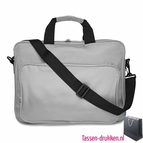 Laptoptas 15 inch gekleurd bedrukken grijs, laptoptas bedrukken, laptoptas bedrukt, bedrukte laptoptas met logo