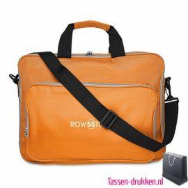 Laptoptas 15 inch gekleurd bedrukken oranje, laptoptas bedrukken, laptoptas bedrukt, bedrukte laptoptas met logo