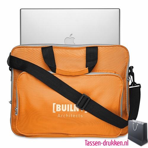 Laptoptas 15 inch gekleurd bedrukken oranje goedkoop, laptoptas bedrukken, laptoptas bedrukt, bedrukte laptoptas met logo