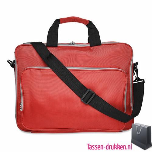 Laptoptas 15 inch gekleurd bedrukken rood, laptoptas bedrukken, laptoptas bedrukt, bedrukte laptoptas met logo