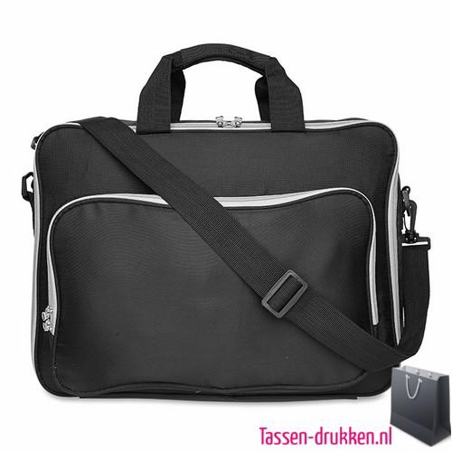 Laptoptas 15 inch gekleurd bedrukken zwart, laptoptas bedrukken, laptoptas bedrukt, bedrukte laptoptas met logo