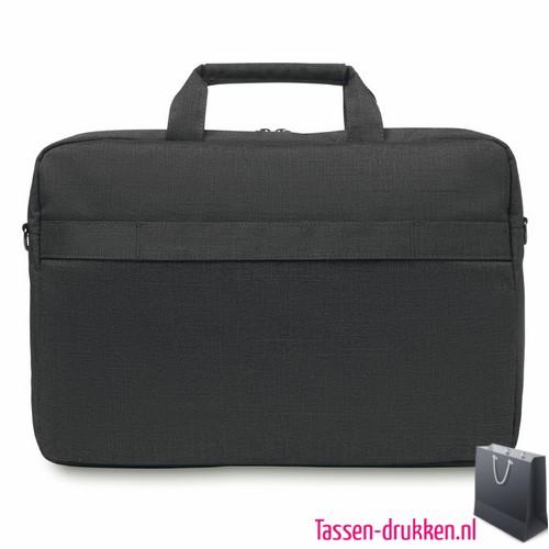 Laptoptas 15 inch luxe bedrukken zwarte, laptoptas bedrukken, laptoptas bedrukt, bedrukte laptoptas met logo