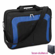 Laptoptas 17 inch gekleurd bedrukken blauw, laptoptas bedrukken, laptoptas bedrukt, bedrukte laptoptas met logo