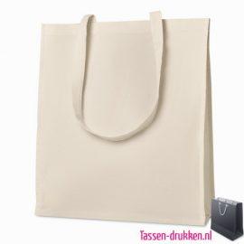 Luxe tas biologisch bedrukken duurzaam, tassen bedrukken, tasje bedrukt, bedrukte tas met logo