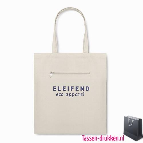 Milieuvriendelijke canvas boodschappentas bedrukken met rits, tassen bedrukken, tasje bedrukt, bedrukte tas met logo