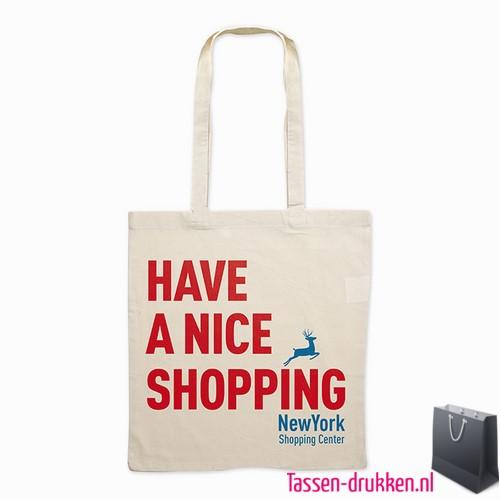 Milieuvriendelijke cotton boodschappentas bedrukken lang hengsel, tassen bedrukken, tasje bedrukt, bedrukte tas met logo
