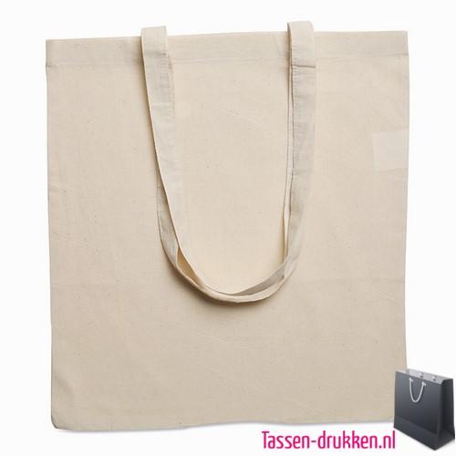 Milieuvriendelijke cotton boodschappentas bedrukken met logo, tassen bedrukken, tasje bedrukt, bedrukte tas met logo