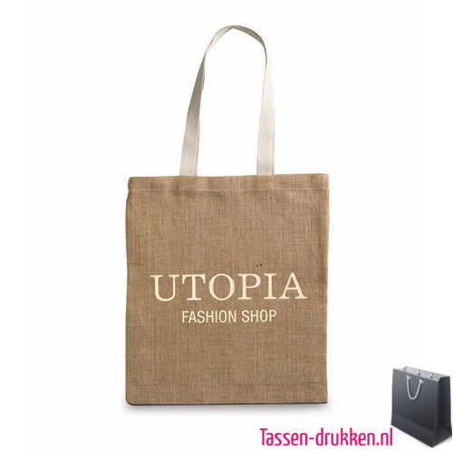 Milieuvriendelijke jute tas bedrukken met logo, jute tas bedrukt, bedrukte jute tas