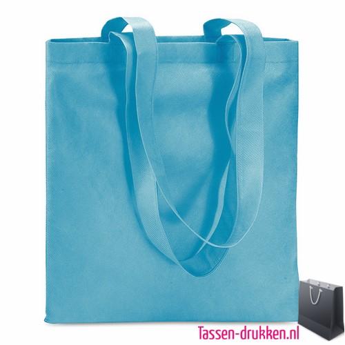 Non woven boodschappentas bedrukken lichtblauw, bedrukte Non woven tas, goedkope Non woven tas met logo
