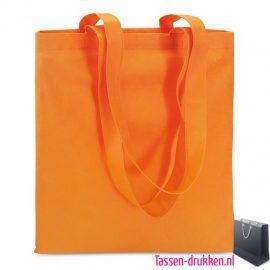 Non woven boodschappentas bedrukken oranje, bedrukte Non woven tas, goedkope Non woven tas met logo