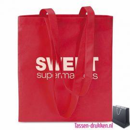 Non woven boodschappentas bedrukken rood, bedrukte Non woven tas, goedkope Non woven tas met logo
