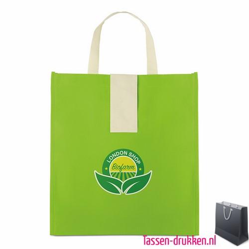 Non woven boodschappentas opvouwbaar bedrukken groen, bedrukte Non woven tas, goedkope Non woven tas met logo