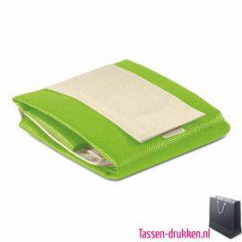Non woven boodschappentas opvouwbaar bedrukken limegroen, bedrukte Non woven tas, goedkope Non woven tas met logo