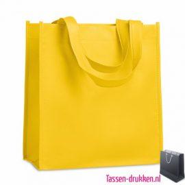Non woven tasje goedkoop bedrukken geel, bedrukte Non woven tas, goedkope Non woven tas met logo