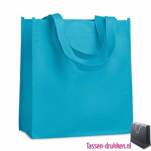 Non woven tasje goedkoop bedrukken lichtblauw, bedrukte Non woven tas, goedkope Non woven tas met logo