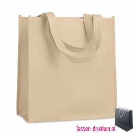 Non woven tasje goedkoop bedrukken naturel, bedrukte Non woven tas, goedkope Non woven tas met logo