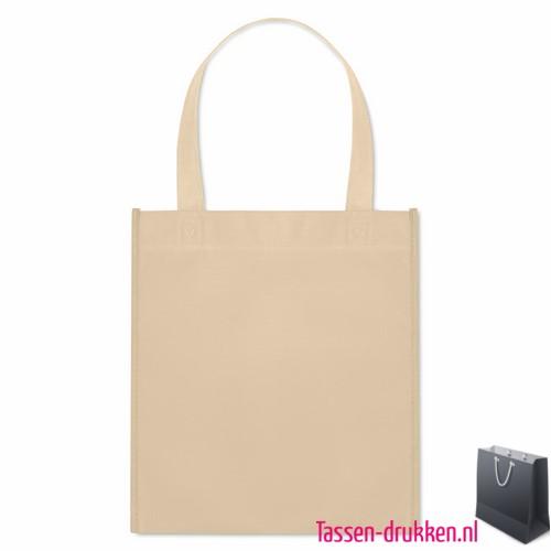 Non woven tasje goedkoop bedrukken naturel met logo, bedrukte Non woven tas, goedkope Non woven tas met logo