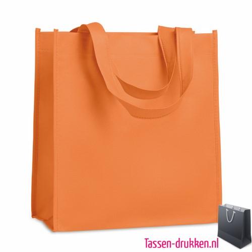 Non woven tasje goedkoop bedrukken oranje, bedrukte Non woven tas, goedkope Non woven tas met logo