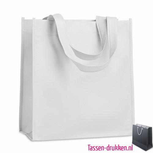 Non woven tasje goedkoop bedrukken wit, bedrukte Non woven tas, goedkope Non woven tas met logo
