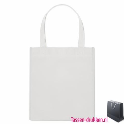 Non woven tasje goedkoop bedrukken witte, bedrukte Non woven tas, goedkope Non woven tas met logo