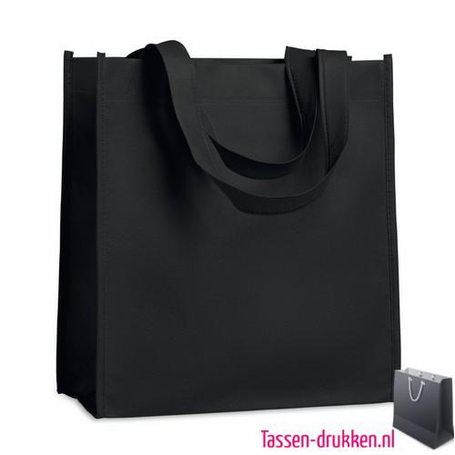 Non woven tasje goedkoop bedrukken zwart, bedrukte Non woven tas, goedkope Non woven tas met logo