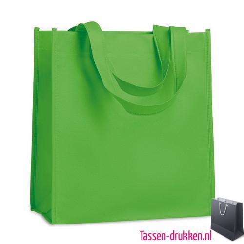 Non woven tasje goedkoop bedrukt groen, bedrukte Non woven tas, goedkope Non woven tas met logo