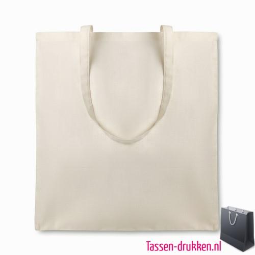 Organische katoenen tas bedrukken biologisch, tassen bedrukken, tasje bedrukt, bedrukte tas met logo