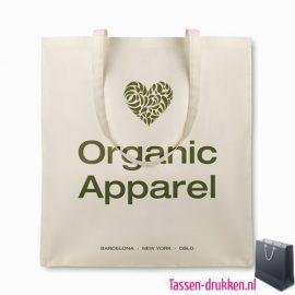 Organische katoenen tas bedrukt, tassen bedrukken, tasje bedrukt, bedrukte tas met logo