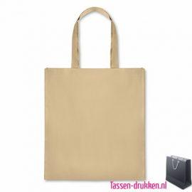 Papieren boodschappentas bedrukken naturel, papieren tas bedrukt, bedrukte papieren tas met logo, goedkope papieren tas