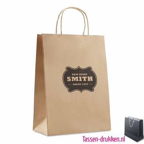 Papieren geschenktas bruin bedrukken goedkoop, papieren tas bedrukt, bedrukte papieren tas met logo, goedkope papieren tas