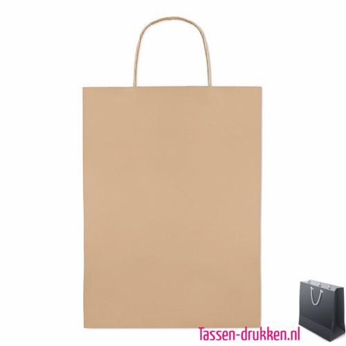 Papieren geschenktas bruin bedrukt, papieren tas bedrukt, bedrukte papieren tas met logo, goedkope papieren tas