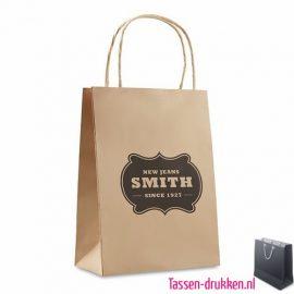 Papieren geschenktas kraft bedrukt, papieren tas bedrukt, bedrukte papieren tas met logo, goedkope papieren tas