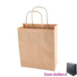 Papieren kraft tas bedrukken naturel, papieren tas bedrukt, bedrukte papieren tas met logo, goedkope papieren tas