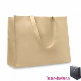 Papieren shopper bedrukken beige, papieren shopper bedrukt, bedrukte papieren shopper met logo, goedkope shopper