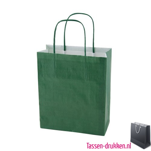 Papieren tas color bedrukken groen, papieren tas bedrukt, bedrukte papieren tas met logo, goedkope papieren tas