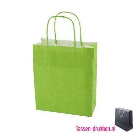Papieren tas color bedrukken lichtgroen, papieren tas bedrukt, bedrukte papieren tas met logo, goedkope papieren tas