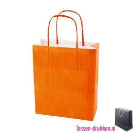 Papieren tas color bedrukken oranje, papieren tas bedrukt, bedrukte papieren tas met logo, goedkope papieren tas