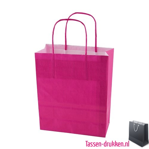Papieren tas color bedrukken roze, papieren tas bedrukt, bedrukte papieren tas met logo, goedkope papieren tas