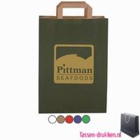 Papieren tas groot bedrukken, papieren tas bedrukt, bedrukte papieren tas, goedkope papieren tas met logo, kraft tas