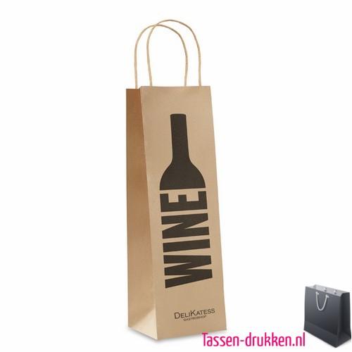 Papieren wijntas bedrukt, papieren tas bedrukt, bedrukte papieren tas met logo, goedkope papieren tas