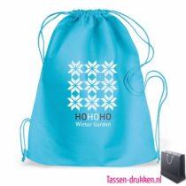 Plunjezak bedrukken blauw winterrelatiegeschenk, rugzakje bedrukt, bedrukte rugzakje, goedkope rugzakje
