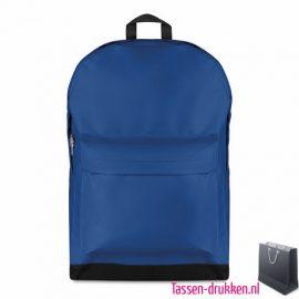 Rugzak budget bedrukken blauw, rugzakje bedrukt, bedrukte rugtas, goedkope rugtas