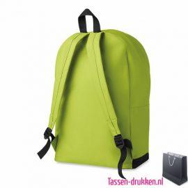 Rugzak budget bedrukken groen achterzijde, rugzakje bedrukt, bedrukte rugtas, goedkope rugtas