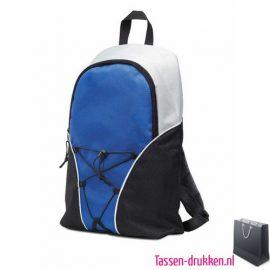 Rugzak compact bedrukken blauw, rugzakje bedrukt, bedrukte rugtas, goedkope rugtas