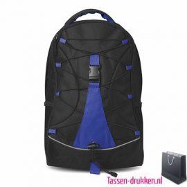 Rugzak zwart bedrukken blauwe, rugzakje bedrukt, bedrukte rugzak, goedkope rugzak